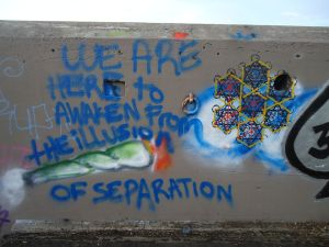 """WE ARE HERE TO AWAKEN FROM THE ILLUSION OF SEPARATION."" Graffiti found in an old military bunker near Baker Beach, San Francisco. Note the design to the right: hexagons within hexagons."